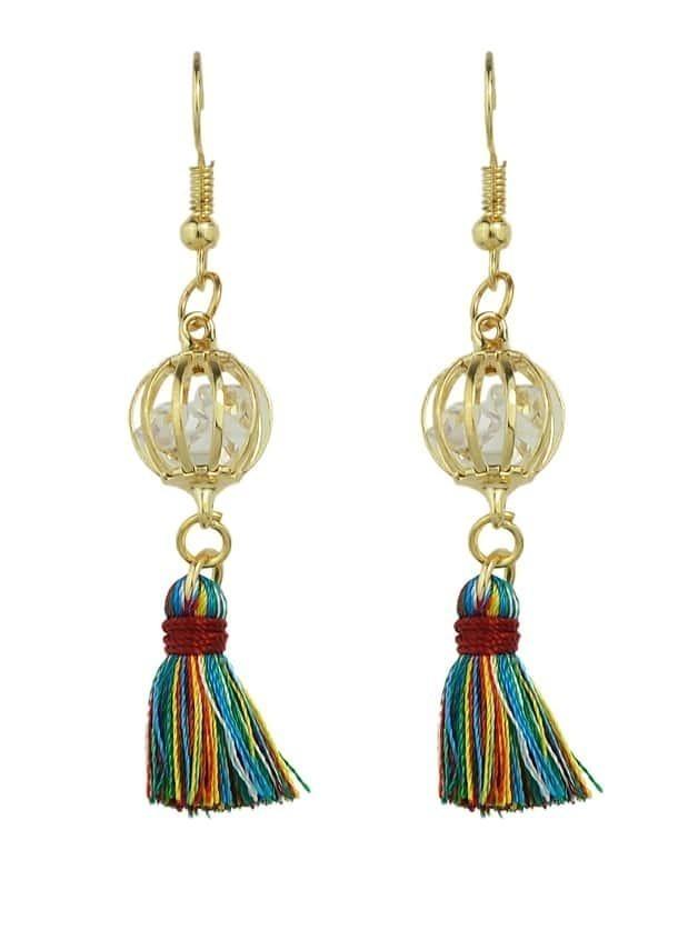 Colorful Boho Style Rhinestone Thread Tassel Drop Earrings