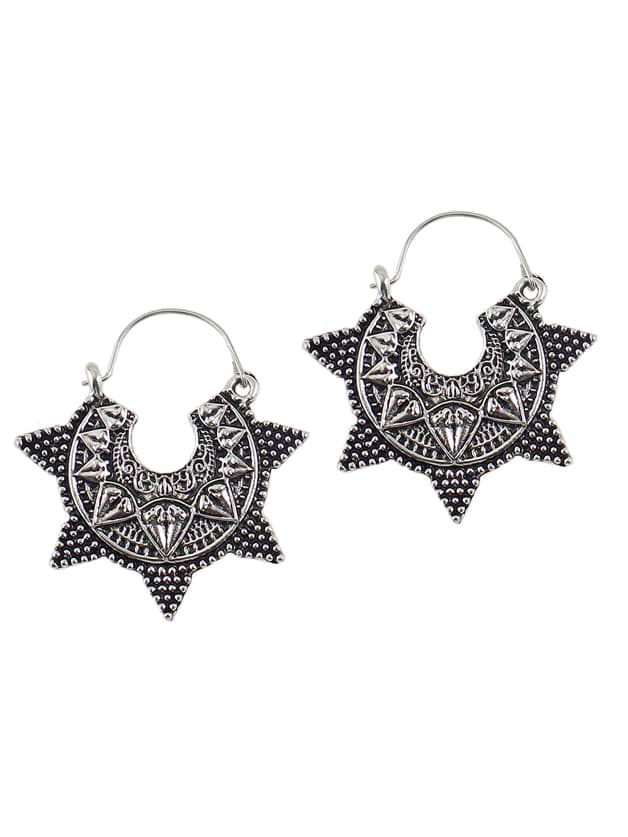 Silver Color Star Shape Women Hoop Earrings