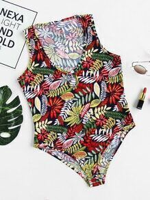All Over Leaf Print Random Keyhole Bodysuit