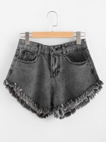 Fray Hem Denim Shorts