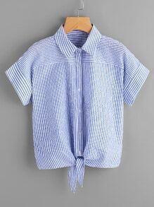 Tie Front Vertical Striped Top