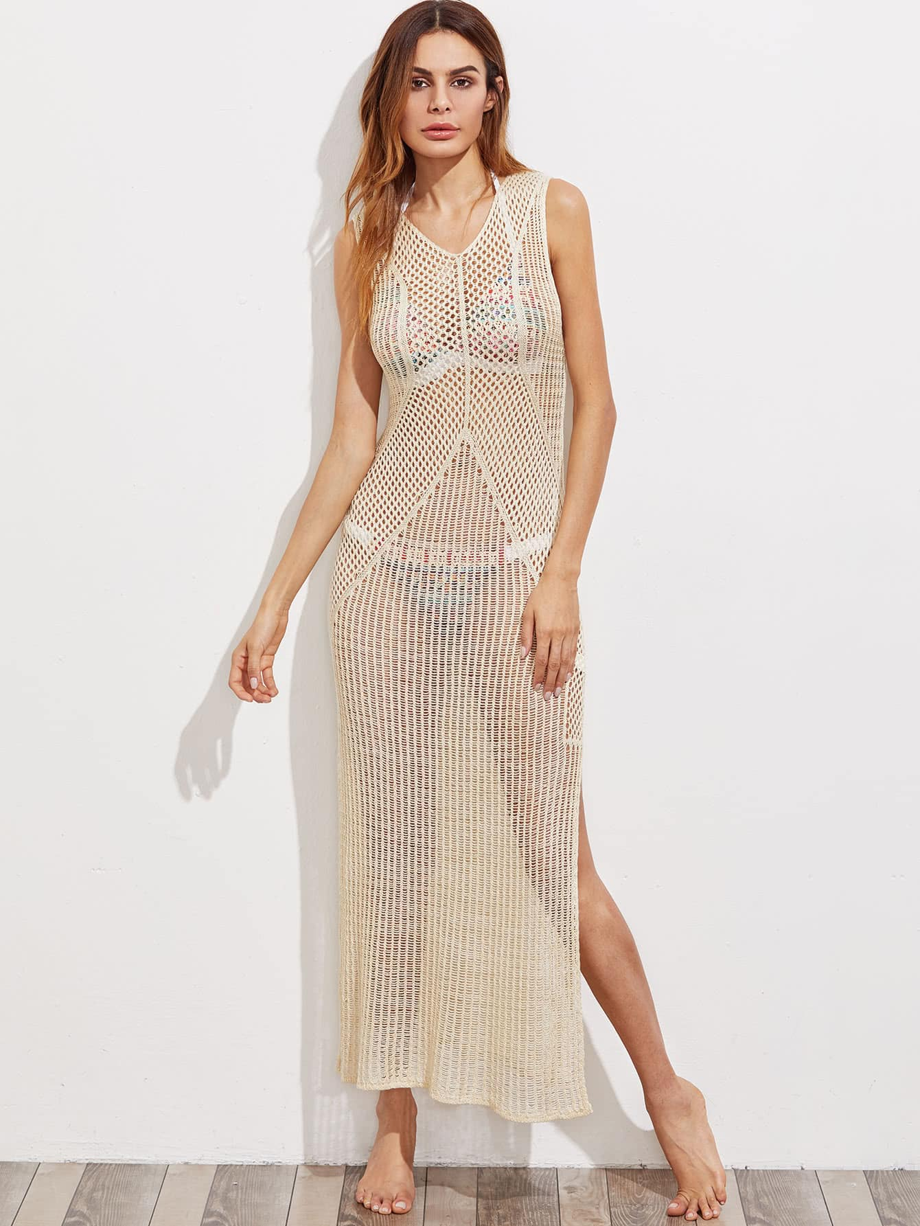 Hollow Out Slit Crochet Cover Up Dress