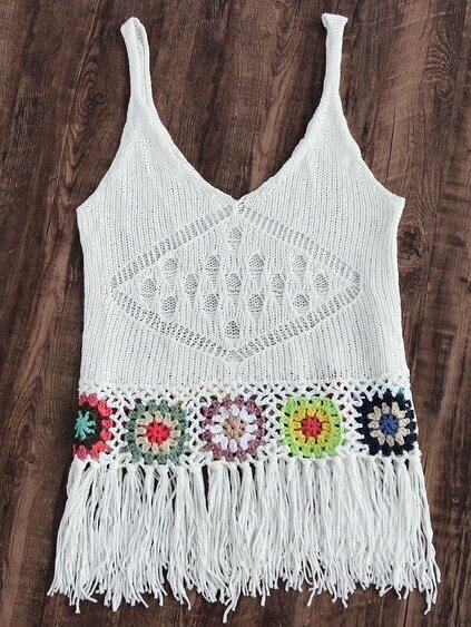 Top playero crochet con flecos