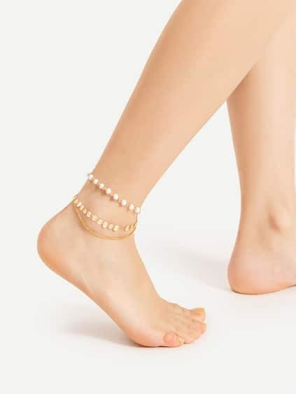Beaded And Sequin Design Layered Anklet