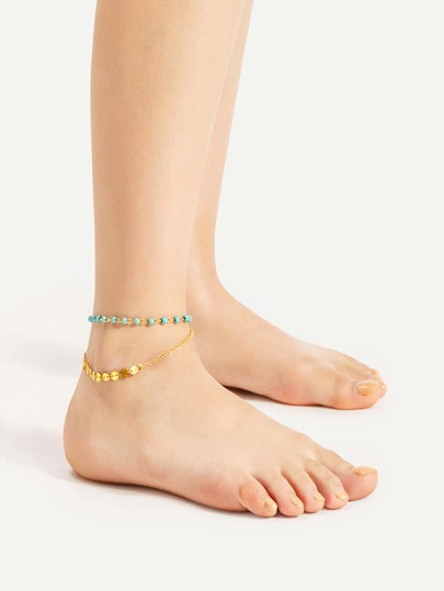 Turquoise Sequin Detail Layered Anklet