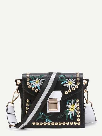 Flower Embroidery Crossbody Bag With Studded