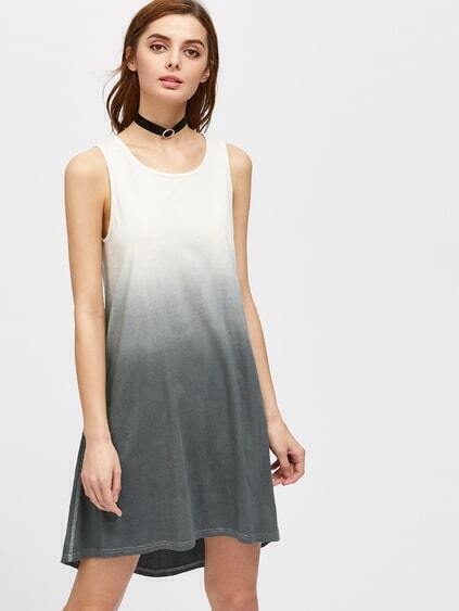 Topstitch Side Swing Ombre Tank Dress