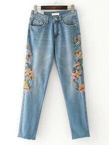 Raw Hem Embroidery Jeans