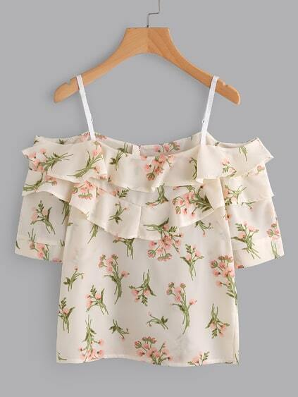 Open Shoulder Tiered Floral Print Random Blouse