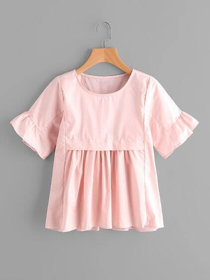 Ruffle Sleeve Pleated Babydoll Blouse