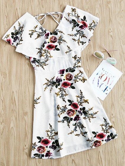 V Neckline Floral Print Layered Dress