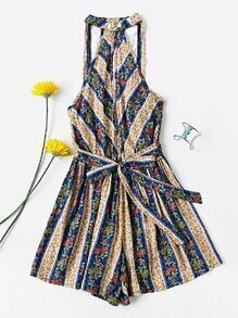Floral Stripe Tassel Open Back Split Knot Romper