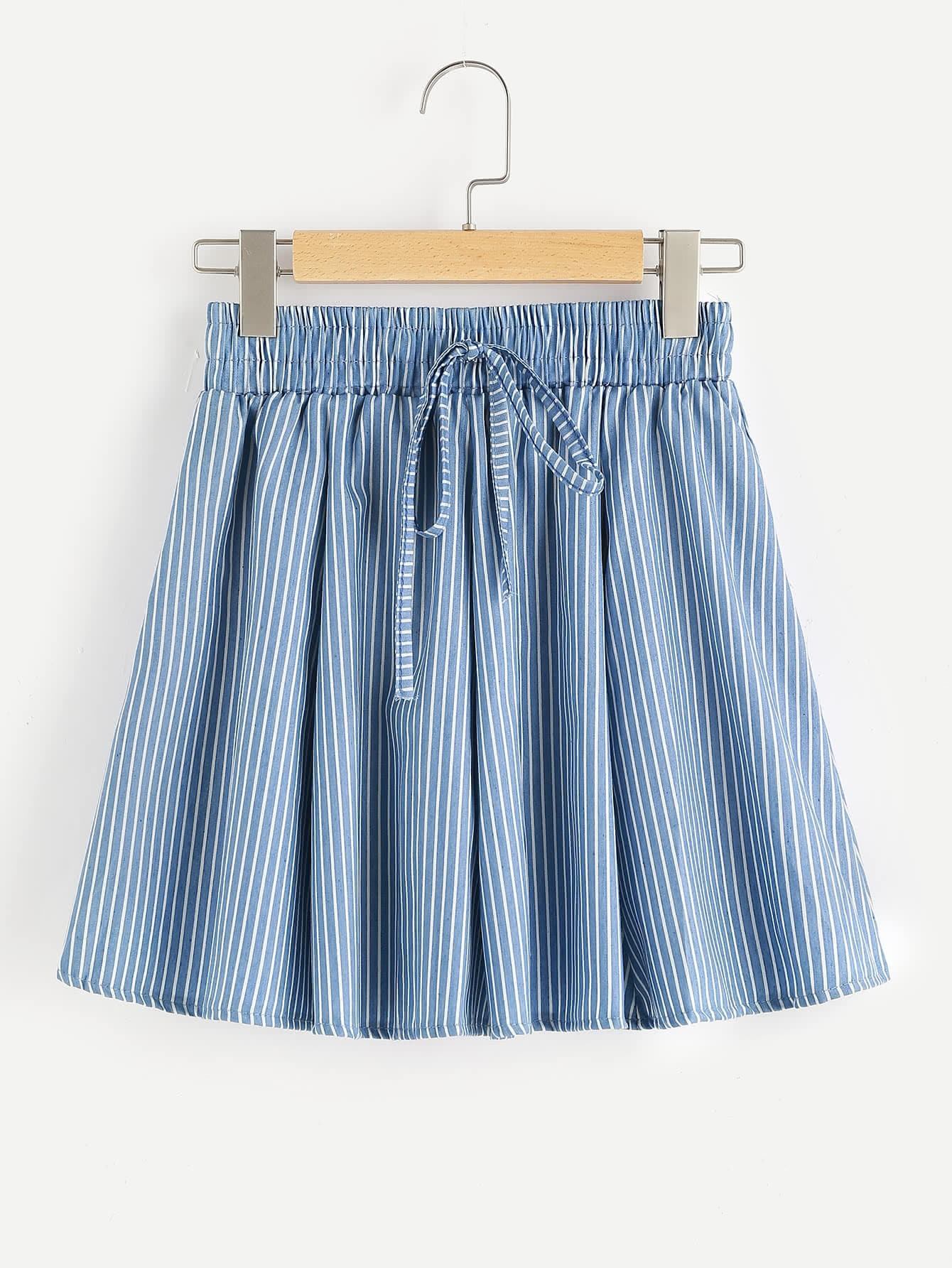 Vertical Striped Drawstring Waist Skirt