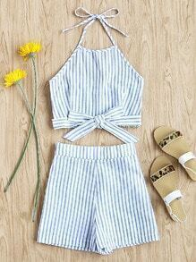Striped Bow Tie Shirred Back Top With Shorts