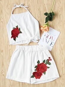Halter Neck Rose Applique Knot Top With Shorts