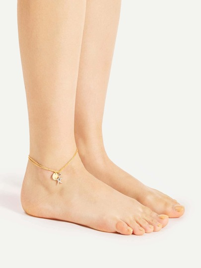 Star & Sequin Detail Layered Anklet