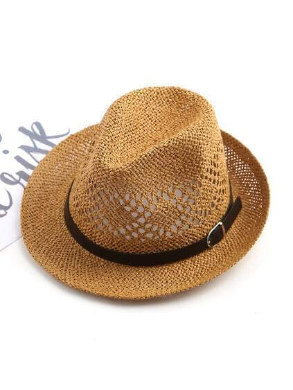 Hollow Straw Hat With Contrast Band