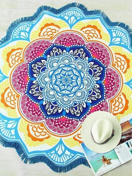 Color Block Lotus Flower Print Beach Blanket