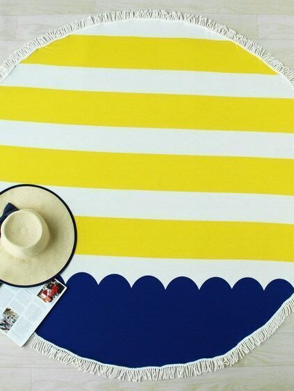 Toalla playera redonda con flecos en color block