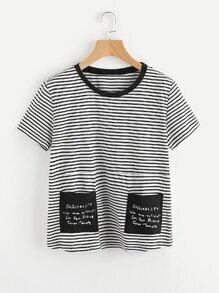 Striped Tee With Contrast Pockets