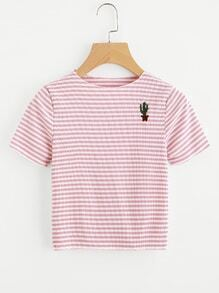 Contrast Striped Potted Embroidered Ribbed Tee