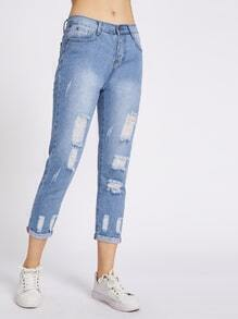Ripped Cuffed Cropped Jeans