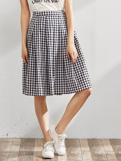 Band Waist Zip Back Box Pleated Checkered Skirt