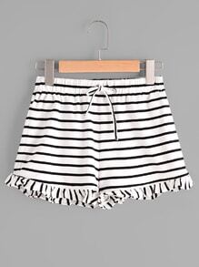 Drawstring Waist Frill Hem Striped Jersey Shorts