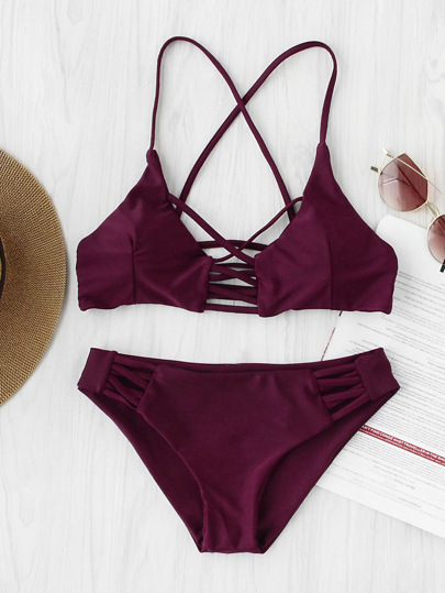Criss Cross Cutout Beach Bikini Set