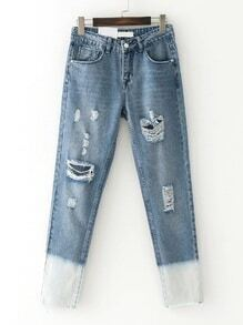 Ripped Detail Ombre Jeans