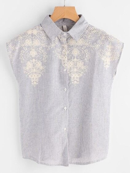 Cap Sleeve Embroidered Vertical Pinstripe Shirt