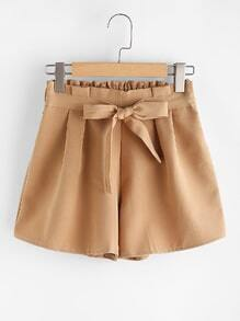 Elastic Waist Self Tie Front Shorts