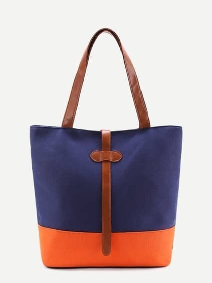 Color Block PU Tote Bag