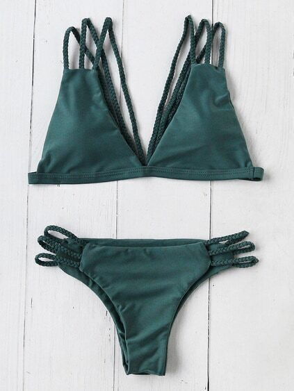 Ensemble de bikini triangle tissé à bretelle