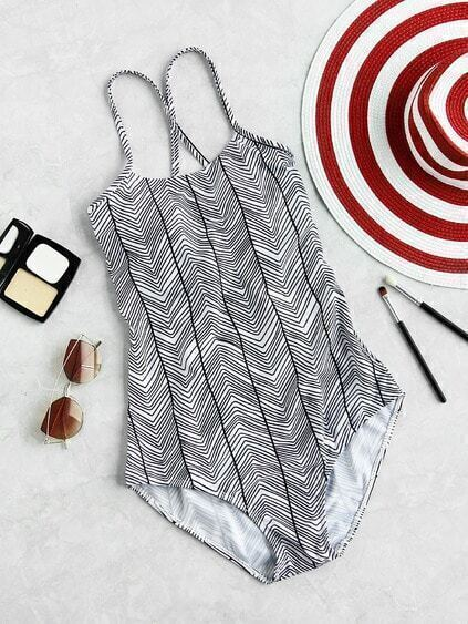 Chevron Stripe Cross Back Swimsuit