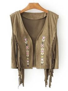 Suede Embroidery Vest With Fringe