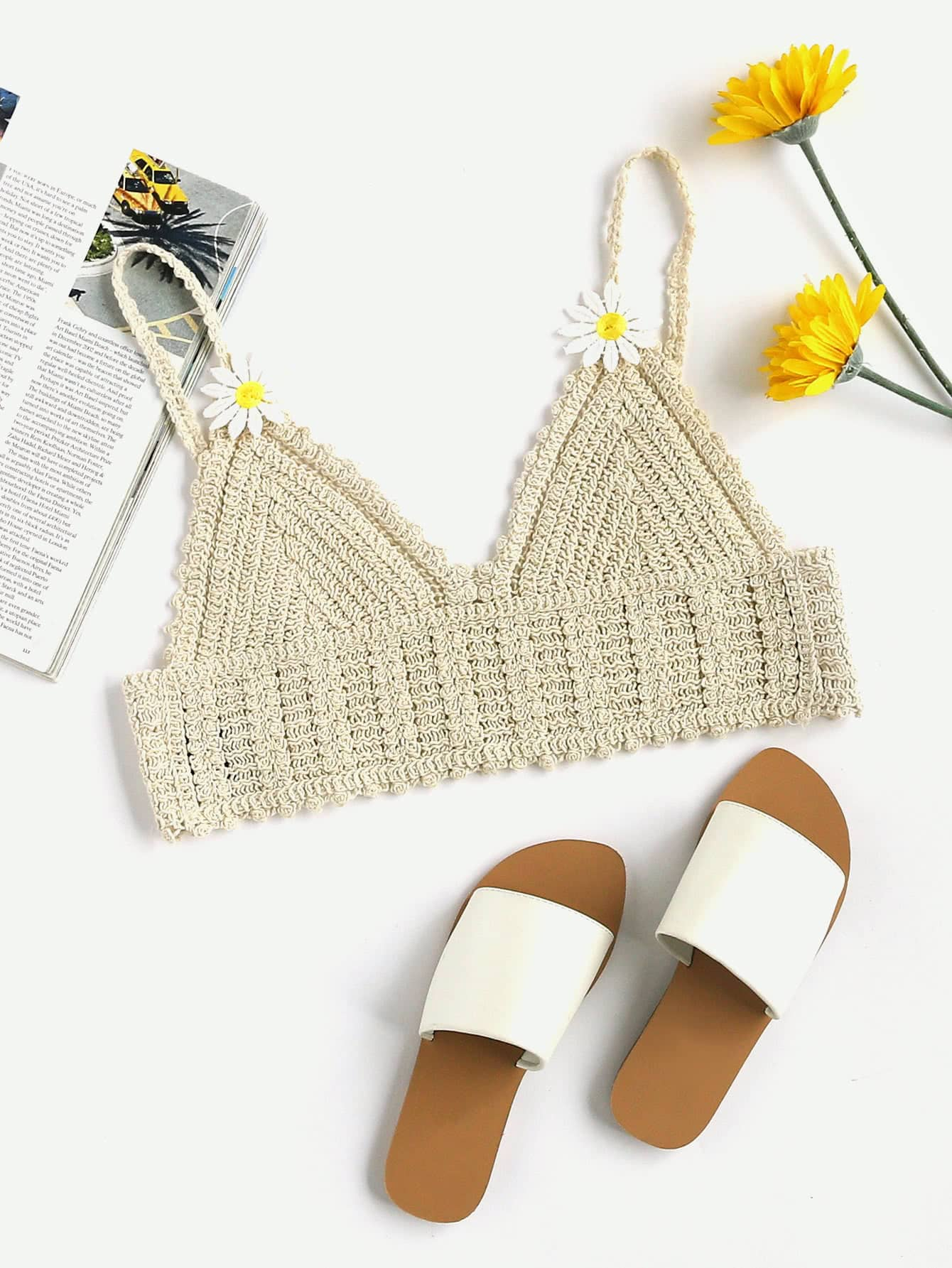 Sujetador crochet con aplicaci n spanish romwe - Aplicaciones en crochet ...