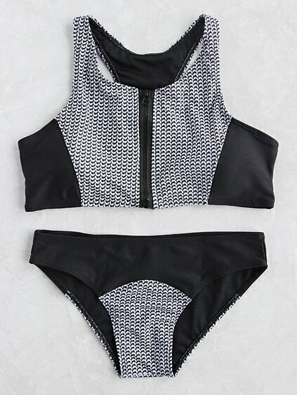 Two Tone Printed Zipper Up Tankini Set
