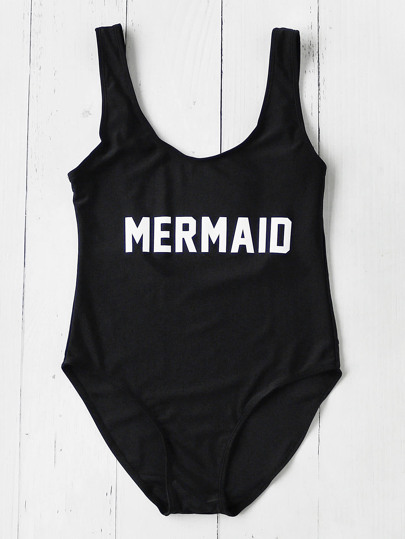 Contrast Slogan Print Scoop Neck Swimsuit