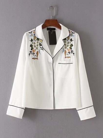 Contrast Binding Flower Embroidery Blouse
