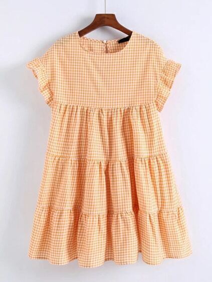 Ruffle Cuff Gingham Tiered Dress