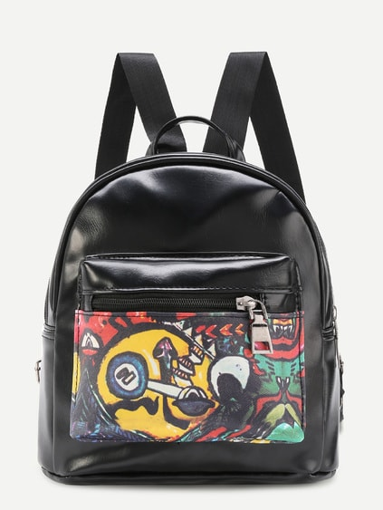 Graffiti Print PU Backpack