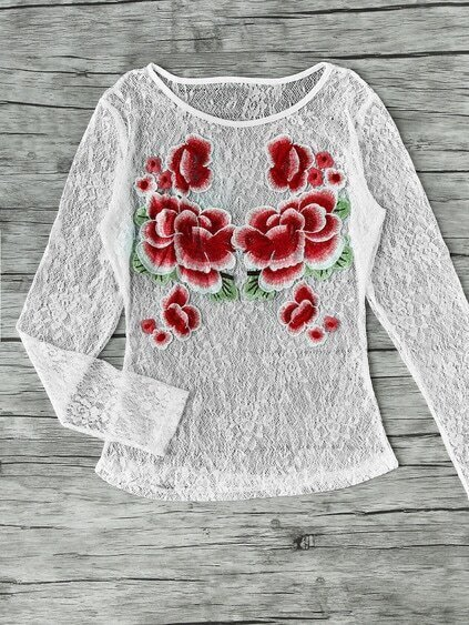 Flower Applique Lace Blouse