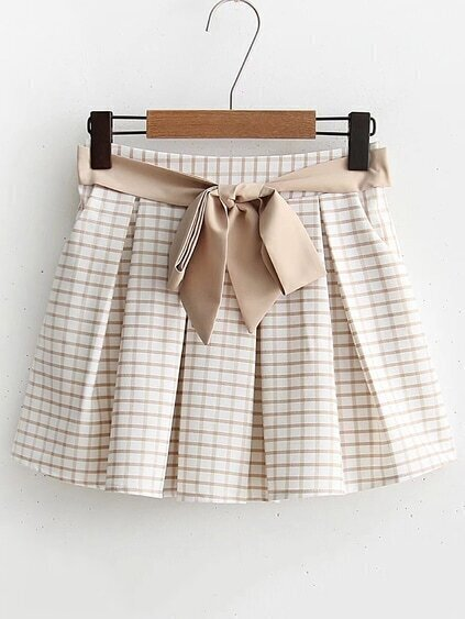 Tie Waist Gingham Skirt Shorts