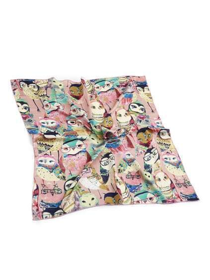 Cartoon Owl Print Satin Bandana