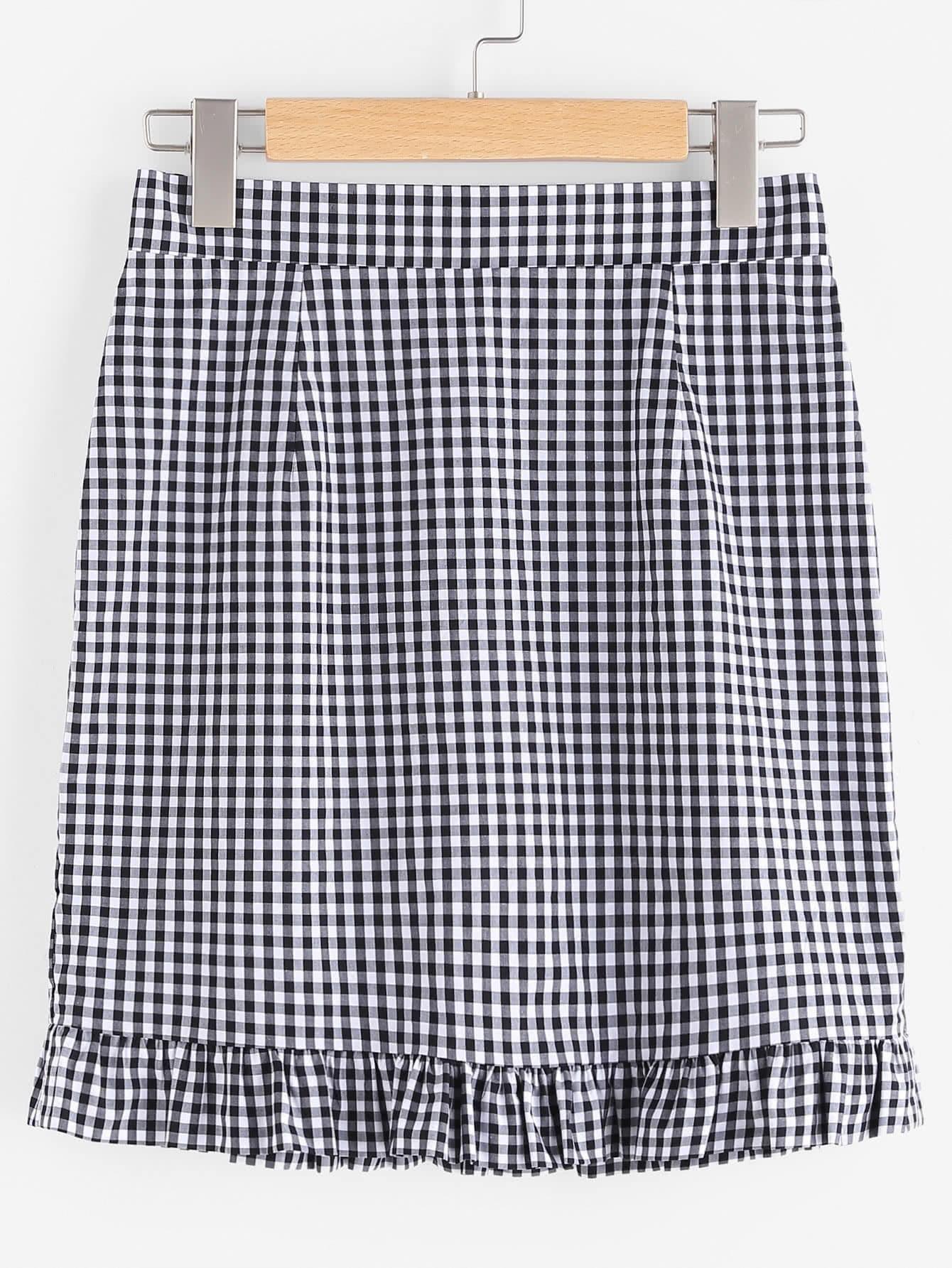 Zip Back Frilled Hem Gingham Skirt