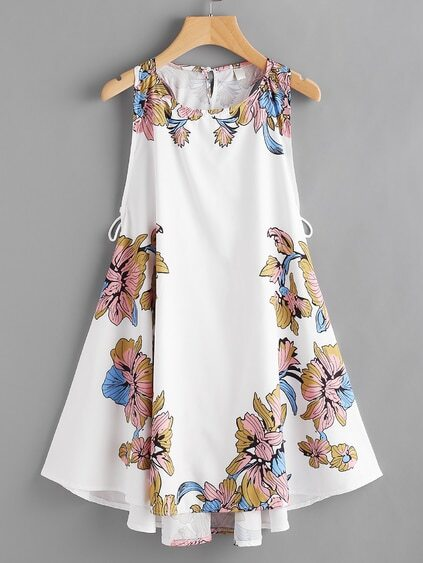 Floral Print Lace Up Side Dress