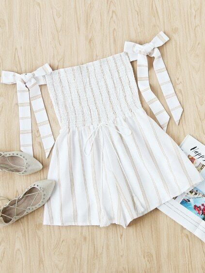 Off Shoulder Bow Tie Sleeve Stripe Drawstring Romper