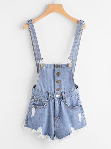 Destroyed Fray Hem Single Breasted Denim Dungaree Shorts