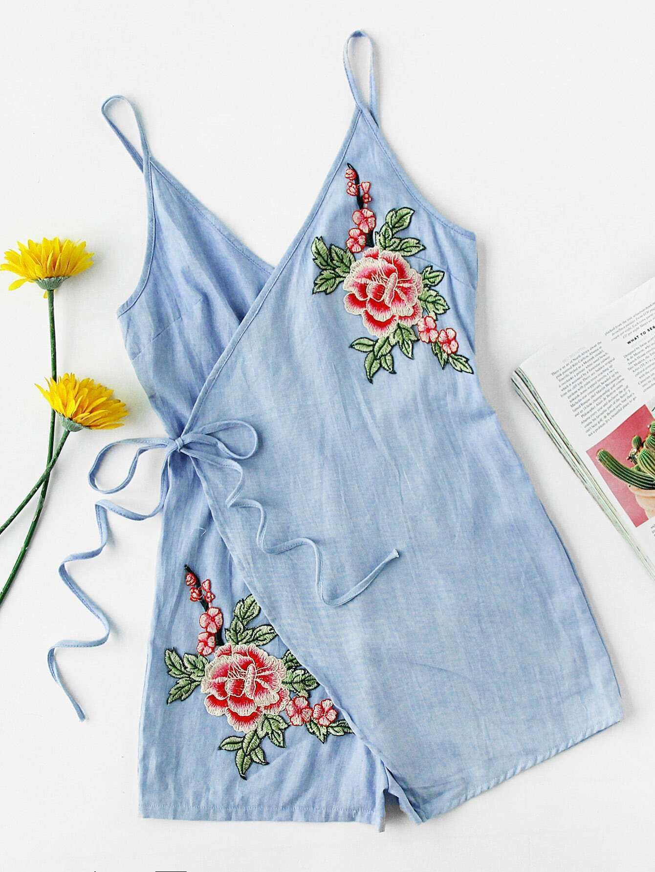 Floral embroidered patch wrap self tie cami romperfor